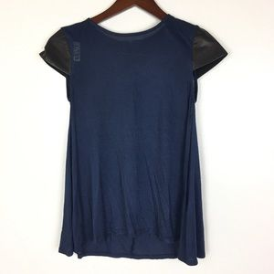 Alice And Olivia XS Top Navy Blue Black Lambskin